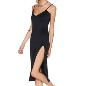 High slit black dress